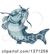 Clipart Of A Sketched Blue Catfish Royalty Free Vector Illustration by patrimonio