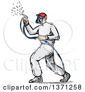 Clipart Of A Sketched Male Painter Using A Spray Gun Royalty Free Vector Illustration