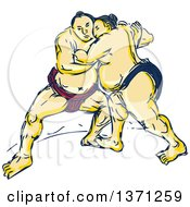 Clipart Of A Sketch Of Sumo Wrestlers In A Match Royalty Free Vector Illustration by patrimonio