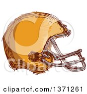 Clipart Of A Sketched Orange Football Helmet Royalty Free Vector Illustration