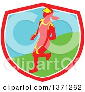 Clipart Of A Retro Female Marathon Runner In A Shield Royalty Free Vector Illustration by patrimonio