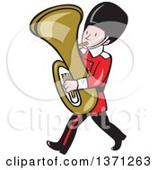 Cartoon Marching Band Member Playing A Tuba