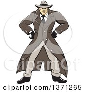 Clipart Of A Cartoon Detective Wearing A Trench Coat And Standing With Hands On His Hips Royalty Free Vector Illustration by patrimonio