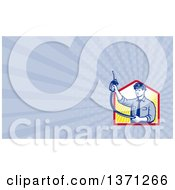 Retro Gas Station Attendant Jockey Holding Up A Nozzle And Rays Background Or Business Card Design