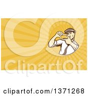 Clipart Of A Retro Movie Director Framing A Shot With His Hands And Yellow Rays Background Or Business Card Design Royalty Free Illustration