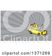 Clipart Of A Cartoon Tow Truck And Driver And Gray Rays Background Or Business Card Design Royalty Free Illustration