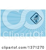 Clipart Of A Movie Camera And Blue Rays Background Or Business Card Design Royalty Free Illustration