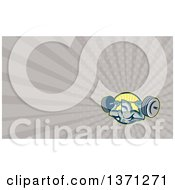 Clipart Of A Shark Lifting A Barbell And Taupe Rays Background Or Business Card Design Royalty Free Illustration by patrimonio