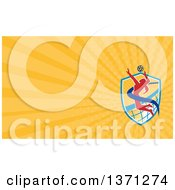 Clipart Of A Female Volleyball Player Spiking A Ball And Orange Rays Background Or Business Card Design Royalty Free Illustration by patrimonio
