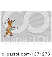 Clipart Of A Happy Arborist Tree Holding A Saw And Gray Rays Background Or Business Card Design Royalty Free Illustration