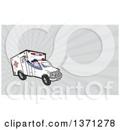 Clipart Of A Cartoon Ambulance Driver Waving And Gray Rays Background Or Business Card Design Royalty Free Illustration by patrimonio