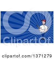 Clipart Of A Happy Barber With Crossed Arms And A Comb And Scissors In Hand And Blue Rays Background Or Business Card Design Royalty Free Illustration by patrimonio