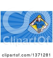Clipart Of A Cartoon White Telephone Service Repair Man Holding A Receiver And Blue Rays Background Or Business Card Design Royalty Free Illustration by patrimonio