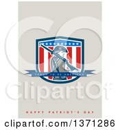 Clipart Of A Greeting Card Design With An American Patriot Minuteman Proud To Be American Happy Patriots Day Text Royalty Free Illustration by patrimonio