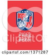 Clipart Of A Greeting Card Design With An American Patriot Ringing Liberty Bell Land Of The Free Home Of The Brave Have A Great Patriots Day Text On Red Royalty Free Illustration
