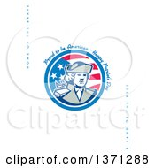 Clipart Of A Greeting Card Design With A Patriot And Proud To Be American Happy Patriots Day Home Of The BraveLand Of The Free Text On White Royalty Free Illustration
