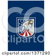 Clipart Of A Greeting Card Design With An American Patriot Holding Up A Torch And Always Honor The Heroes On Patriots Day Text On Blue Royalty Free Illustration