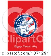 Clipart Of A Greeting Card Design With An American Calvary Soldier Blowing A Bugle And The Land Of The BraveHome Of The Free Happy Patriots Day Text On Red Royalty Free Illustration