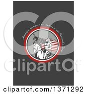 Clipart Of A Greeting Card Design With An American Cavalry Soldier On Horseback And Always Honor The Heroes On Patriots Day Text On Gray Royalty Free Illustration