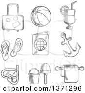 Clipart Of A Black And White Sketched Luggage Beach Ball Cocktail Drink Thongs Ticket Passport Anchor Snorkeling Bucket And Spade Royalty Free Vector Illustration