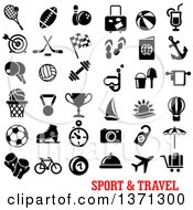 Clipart Of Black And White Sports And Travel Icons Over Text Royalty Free Vector Illustration by Vector Tradition SM