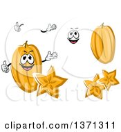 Clipart Of A Cartoon Face Hands And Carambola Starfruits Royalty Free Vector Illustration by Vector Tradition SM
