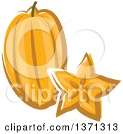 Clipart Of A Cartoon Carambola Starfruit And Slice Royalty Free Vector Illustration