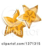 Clipart Of Cartoon Carambola Starfruit Slices Royalty Free Vector Illustration