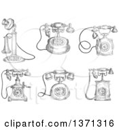 Clipart Of Sketched Grayscale Vintage Telephones Royalty Free Vector Illustration