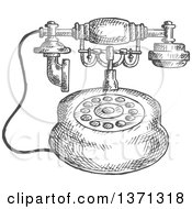 Clipart Of A Sketched Grayscale Vintage Telephone Royalty Free Vector Illustration