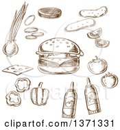 Clipart Of Brown Sketched Condiments And A Cheeseburger Royalty Free Vector Illustration