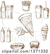 Clipart Of Brown Sketched Fat Foods And Drinks Royalty Free Vector Illustration