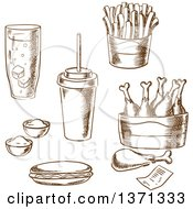 Clipart Of Brown Sketched Royalty Free Vector Illustration