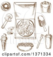 Clipart Of Brown Sketched Pizza And Other Foods Royalty Free Vector Illustration