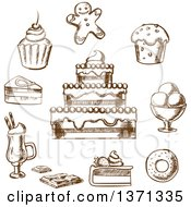 Clipart Of Brown Sketched Desserts Royalty Free Vector Illustration