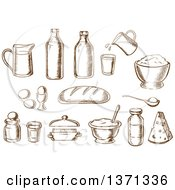 Clipart Of Brown Sketched Baking Items And Ingredients Royalty Free Vector Illustration by Vector Tradition SM