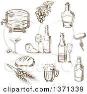 Clipart Of Brown Sketched Wine And Foods Royalty Free Vector Illustration by Vector Tradition SM