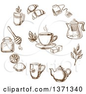 Poster, Art Print Of Brown Sketched Tea And Goods