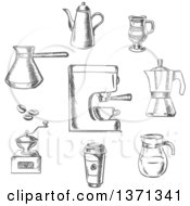 Clipart Of Gray Sketched Coffee Items Royalty Free Vector Illustration