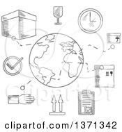 Clipart Of A Black And White Sketched Ardboard Boxes With Packaging Symbols Order List And Clock With Globe And Caption Shipping Below Royalty Free Vector Illustration