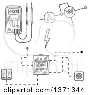 Clipart Of A Black And White Sketched Digital Voltmeter Electricity Meter With Socket And Switches Electrical Circuit Royalty Free Vector Illustration