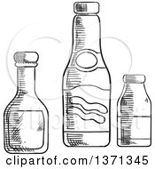Clipart Of Black And White Sketched Ketchup Mustard And Sea Salt Bottles Royalty Free Vector Illustration