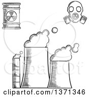 Clipart Of A Black And White Sketched Power Plant Radioactive Waste And Gas Mask Royalty Free Vector Illustration