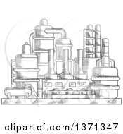Clipart Of A Black And White Sketched Industrial Plant Royalty Free Vector Illustration
