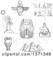 Clipart Of A Black And White Sketched Giza Pyramids Pharaoh Golden Mask Ancient Hieroglyphics Scarab Amulet Anubis God Amphora And Beach Landscape Of Palm Trees With Sun Royalty Free Vector Illustration