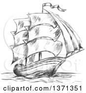 Clipart Of A Sketched Black And White Ship Royalty Free Vector Illustration by Vector Tradition SM