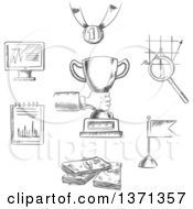 Clipart Of A Black And White Sketched Business Achievement Management Creative And Success Sketch Icons With Human Hand Trophy Cup Flag Money Chart Notebook Monitor Medal And Magnifying Glass Royalty Free Vector Illustration