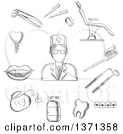 Clipart Of A Black And White Sketched Dentist In Glasses Dental Equipment And Hygiene Icons With Toothy Smile Chair Tooth Implant Floss Brace Pills Toothbrush And Toothpaste Royalty Free Vector Illustration
