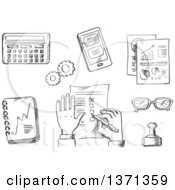Clipart Of A Black And White Sketched Businessman Completing A Check List Surrounded By Analytical Charts Calendar Hand Stamp Eyeglasses Notebook Calculator And Tablet Royalty Free Vector Illustration by Vector Tradition SM