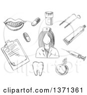 Black And White Sketched Nurse Surrounded By Apple Notebook Tablets Mouth With Braces Tooth Instruments And Toothpaste